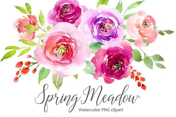 Watercolor Flowers Leaves Roses PNG