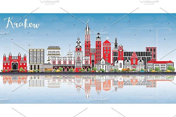 Krakow Poland City Skyline