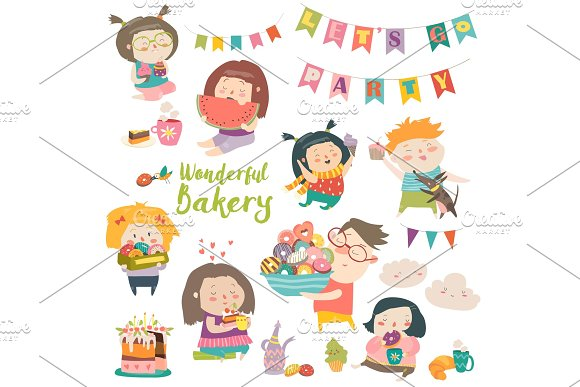Funny Cartoon Children And Sweets