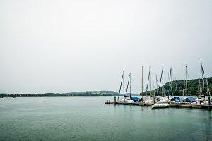 Sailing boats a rainy day