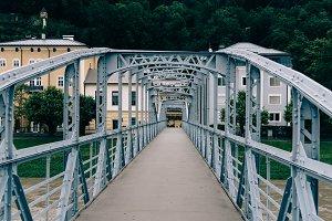 Steel bridge over river in Salzburg