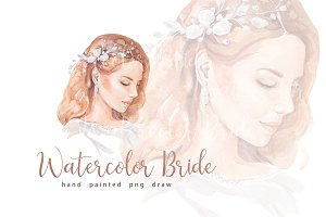 Watercolor woman bride face