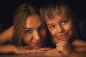 boy with his mother
