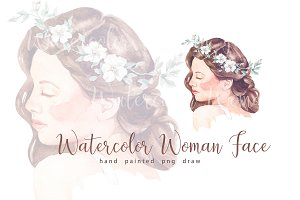 Watercolor woman bride wreath