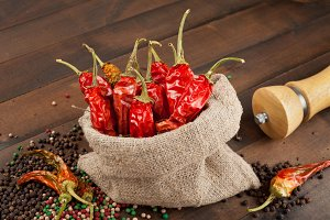 Red chili peppers in a canvas sack