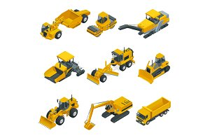 Big isometric set of construction equipment. Forklifts, cranes, excavators, tractors, bulldozers, trucks.
