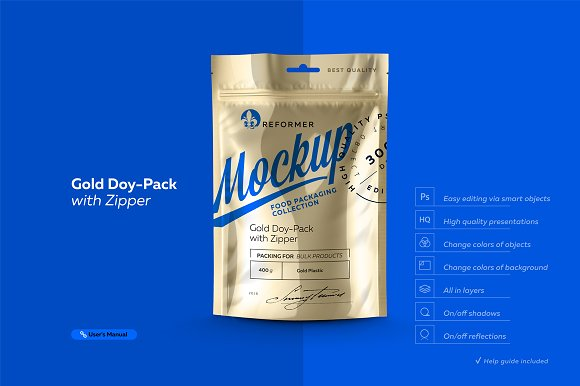 Download Gold Doy-Pack With Zipper