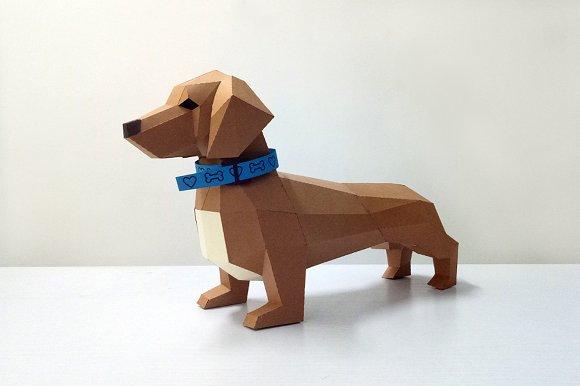 Diy Dachshund Puppy 3d Papercraft Templates Creative Market