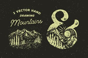 2 Vector Hand Drawing Mountains