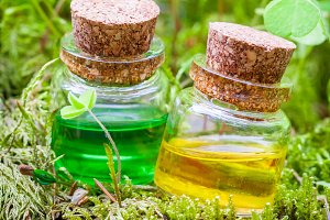 Bottles of essential oil or potion.