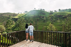 Couple in love at tea plantation