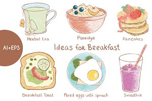 Vector set of ideas for breakfast
