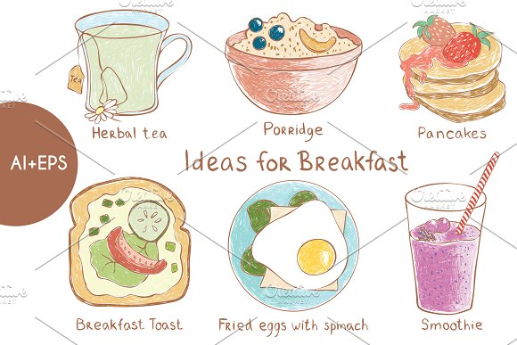 Vector Set Of Ideas For Breakfast