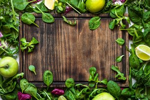 Green food background.