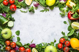 Healthy food background. Food frame.