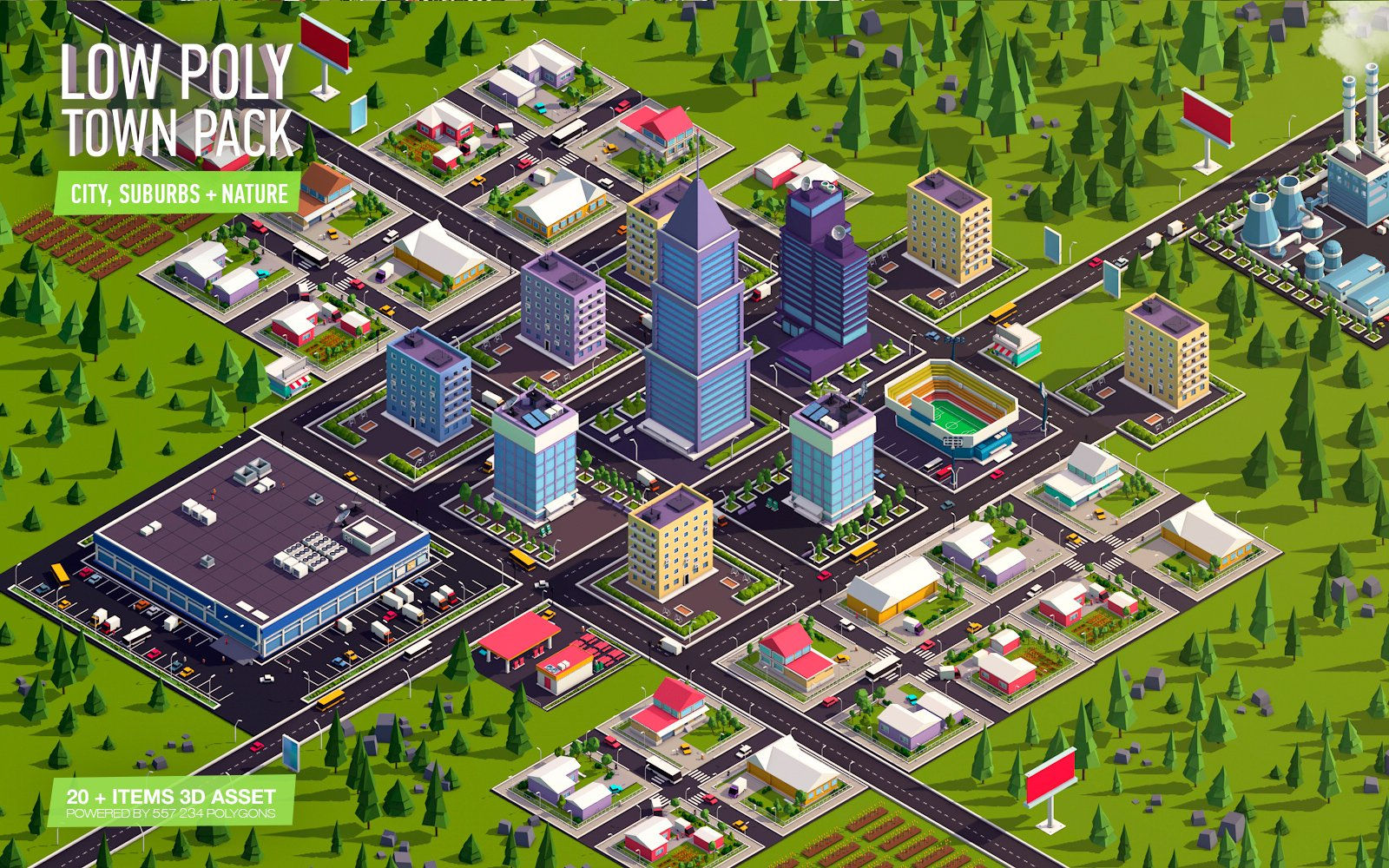 Cartoon Low Poly Town City Pack Urban Environments