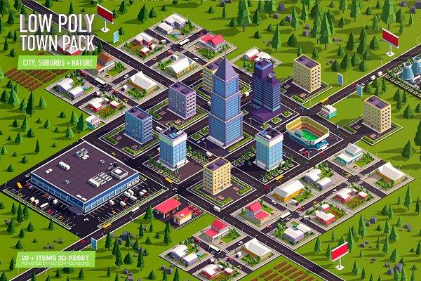 3D Urban: Anton Moek - Cartoon Low Poly Town City Pack