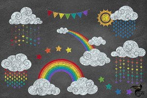 Chalkboard Rainbow Clipart