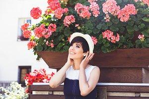 Cute woman with short dark hair