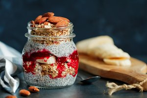 Organic chia pudding with granola