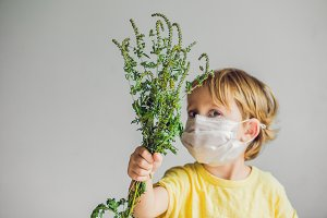The boy is allergic to ragweed. In a medical mask, he holds a ragweed bush in his hands. Allergy to ambrosia concept.