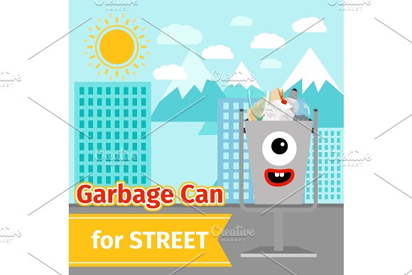 Monster Face Garbage Can With Street Trash