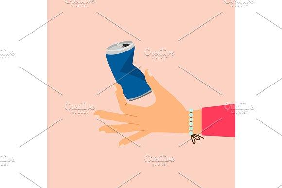 Woman Hand Holding Broken Aluminum Can