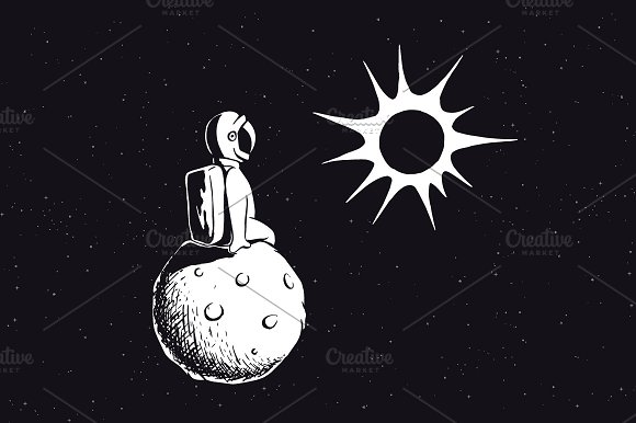 Astronaut On Planet Watches To Sun