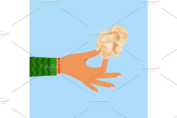 Woman Hand Holding Crumpled Paper Sheet