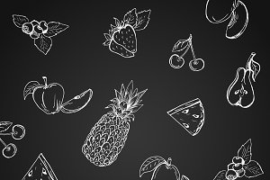 pattern with fruits, hand drawn
