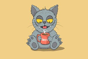 Happy cat drinks a coffee