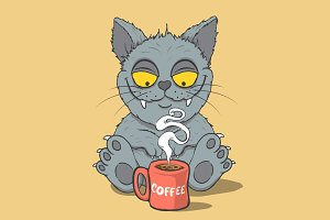 Funny cat with cup of coffee