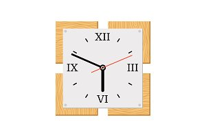 Square modern wooden wall clock