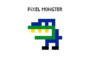 Game retro pixel dinosaur monster