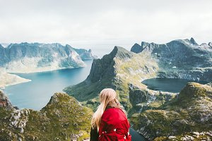 Backpacker woman standing alone