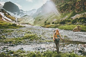 Woman backpacker hiking