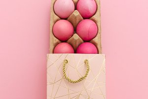 Pink easter eggs in gift box