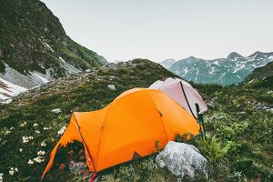 Mountains and camping tents landscap