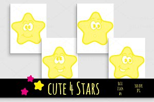cute 4 Stars wall art print