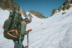 Man adventurer with gps tracker
