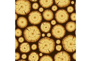 Seamless pattern with wood stumps. Background for forestry and lumber industry