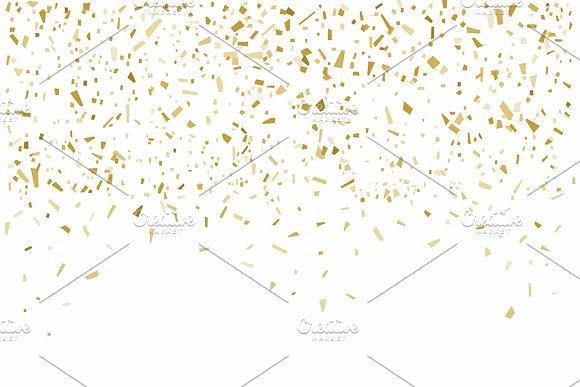 Golden Confetti On White Background