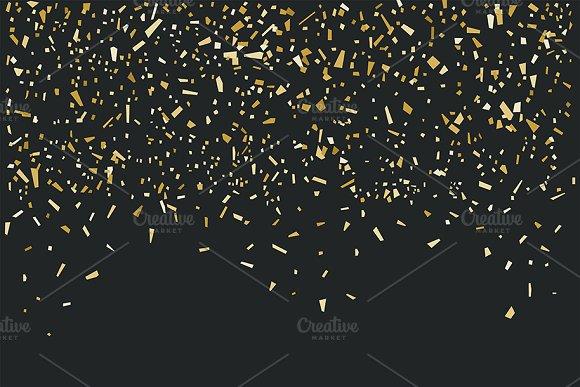 Golden Confetti On Black Background
