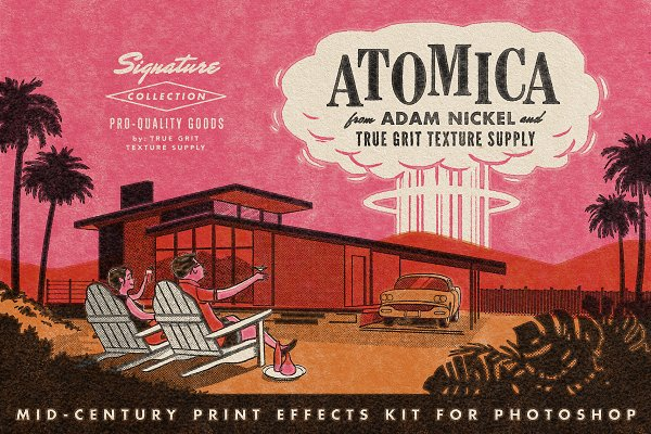 Actions: True Grit Texture Supply - ATOMICA Mid-Century Print Effects Ki