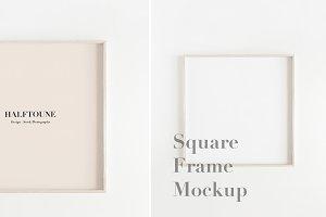 Mockup Square Wooden Minimal Frame
