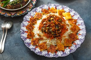 Jeweled rice or shirin polo in traditional plate