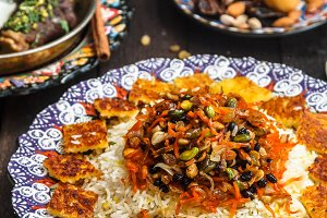 Close view of shirin polo persian traditional rice