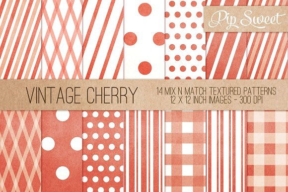 Vintage Cherry 14 Pattern Set Patterns Creative Market