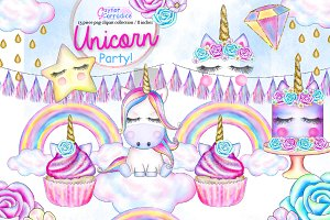 Unicorn Party Clipart set