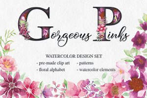 'Gorgeous Pinks' design set